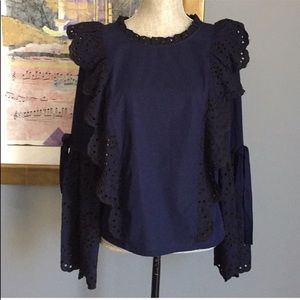 Eyelet Embroidered Bell Sleeved Top